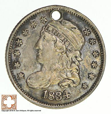 1834 Capped Bust Half Dime Love Token *Condition: Hole *8633