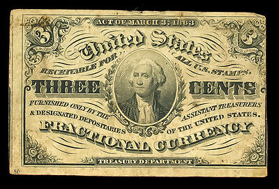 3 Cents Third issue Fractional Currency 1863 Civil War George Washington #543