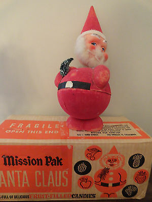 """Vintage Santa Claus 13"""" Candy Container Nodder Bobble Head w/ Box - West Germany"""