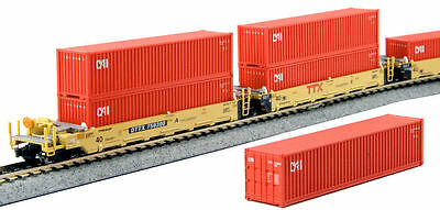 Kato N Scale MAXI-I 5 Well Car Set w/10 CAI Containers TTX #759300 1066192