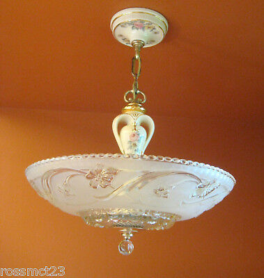Vintage Lighting 1930s Porcelier porcelain glass chandelier   More Available