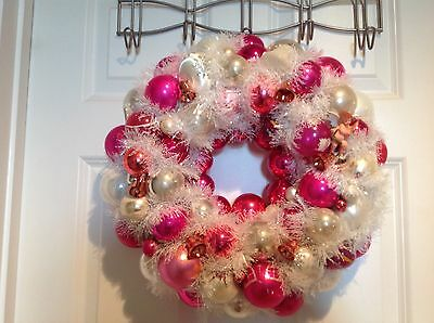 Christmas Wreath Vintage Glass Ornaments 20 Inches, Pink/White
