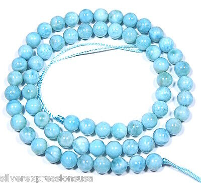 """Strand of Natural Genuine AAA Dominican Larimar 6mm Round Smooth Beads 16"""""""