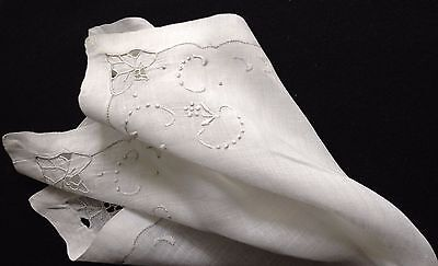 Lovely Bridal Handkerchief Hand Made Embroidery Cut- work, Double Hem Drown-work