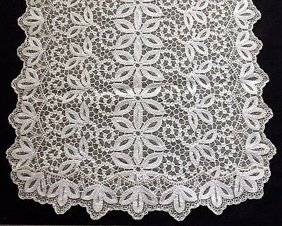 """Old Vintage Embroidery on Net Lace Table Centerpiece Cover, Scarf, Runner  31""""l"""