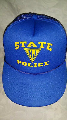 New Jersey State Police Hat Blue with Yellow Printing Rope Mesh Trucker Hat Cap