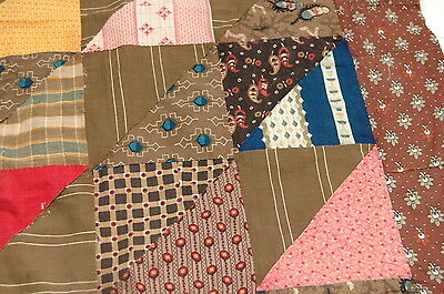 Antique Early c 1830-1860 Quilt Top Piece Fabrics Study G