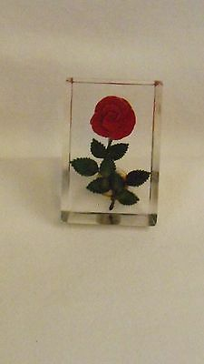 Vintage CLEAR LUCITE SINGLE ROSE Brooch Pin  (H56)