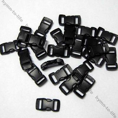 "200 pcs 3/8"" Buckles Black plastic Arced Side-Release for Bracelets M067B-10"