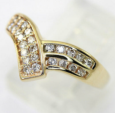 Diamond V ring 14K yellow gold crossover ArtCarved G color round brilliant .375C