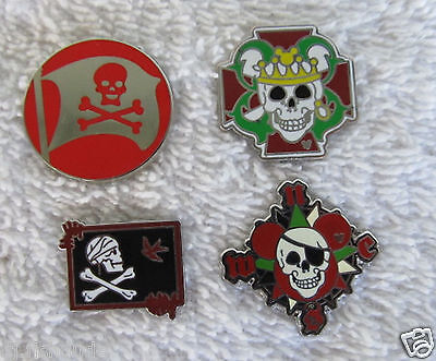Disney 4 Pins PIRATES OF THE CARIBBEAN  SKull & Crossbones  Traders  used