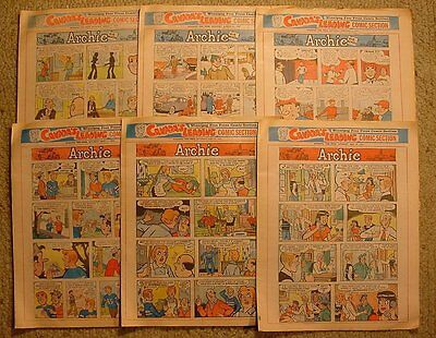 Lot of 6 1975 8 page Sunday Newspaper Color Comics Family Circus Li'l Abner Etc