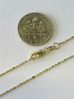 """14K 18"""" 20"""" 24"""" Inch 1.1mm Solid Yellow Gold Ball Bead Chain Necklace ITALY"""