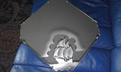 art deco mirror etched with sailing ship