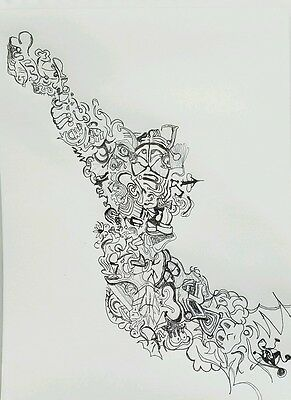 Schneider Signed! Original pen and ink drawing abstract