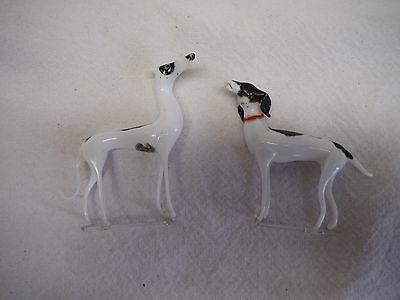 Vintage Lot Of 2 Mercury Blown Glass Germany White Dogs With Stand