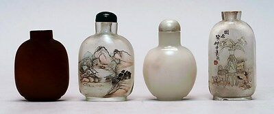 4 estate snuff bottles,20th Century.2 interior-paint glass,1 amber glass,1 stone