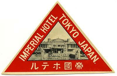 Imperial Hotel ~TOKYO JAPAN~ Historic Old FRANK LLOYD WRIGHT Luggage Label, 1945