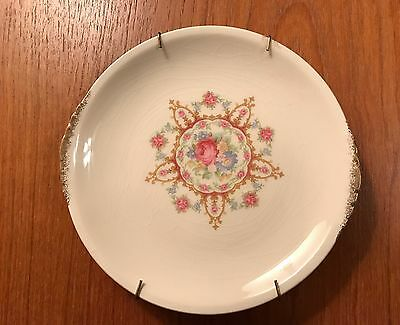 """Vintage  Paden City 6"""" plate w/ Gold Edge / Floral Center  Wall Hanging"""