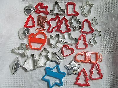 30 Vtg LOT - COOKIE CUTTERS - ASSORTED METAL & PLASTIC - MINI, HOLIDAYS, TRUCK