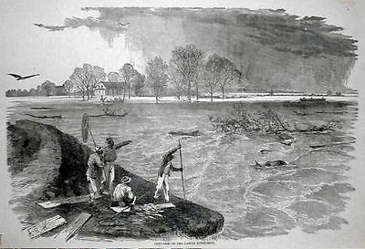 CIVIL WAR; Crevasse Lower Mississippi, Negroes Fishing