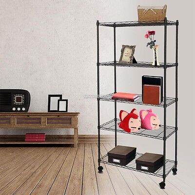 "61"" 5 Tier Adjustable Iron Steel Wire Shelving Storage Rack With Wheels"