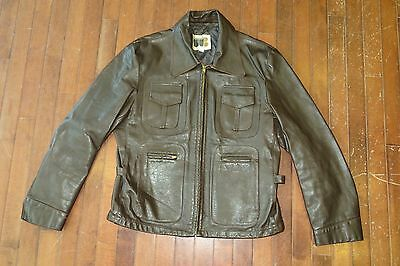 Vintage 60s William Barry Mens 44 Brown Leather Highwayman Motorcycle Jacket