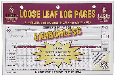 10-PACK JJ Keller Carbonless Loose Leaf Log Pages Driver's Daily Log Book 545 MP