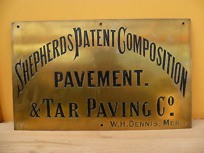 Old Rare Brass Australian Shepherds Patent Composition Pavement Advertising Sign