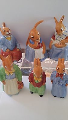 Royal Doulton BUNNYKINS SET OF 6 75th Anniversary Bunnies Made in England 2009