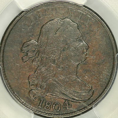 1804 Spiked Chin Draped Bust Half Cent PCGS VF35