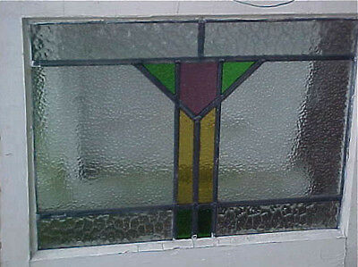 "Original Antique Art Deco Mission STAIN GLASS In Window Pane 21.25"" X 17"" Vtg"