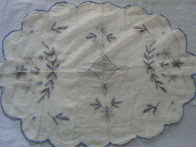 Lovely Vintage Hand-Embroidered Tulle Table Runner