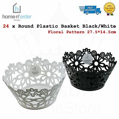 24 x Plastic Round Storage Basket Floral Pattern 27.5*14cm Home Office Organizer