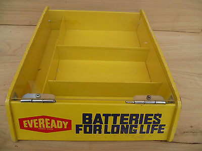Vintage Old Timber & Tin Eveready Batteries Advertisin  Display Rack