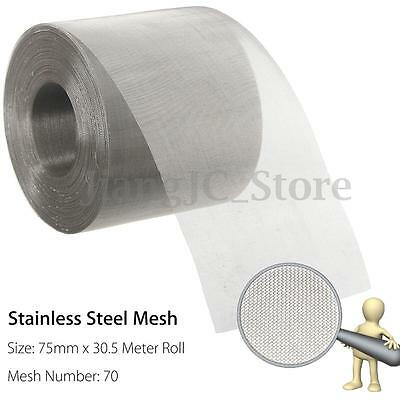 75mm x 30.5 Meter Roll Stainless Steel Insect Screen Vent Woven Wire 70 Mesh