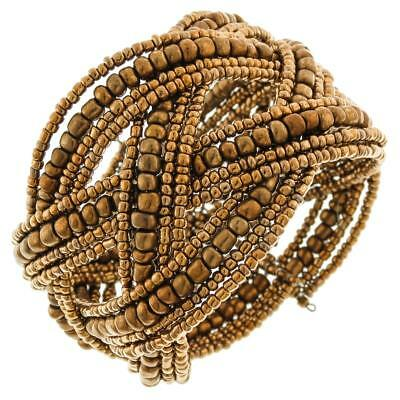 SOLID BRONZE COLOR BEADS BRAIDED MEMORY WIRE CUFF bracelet