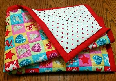 """New, Handmade,""""xmas Baby"""", Crib Size, Reversible, Baby/toddler Quilted Blanket"""