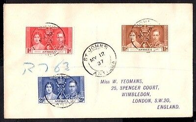 (Ref-8911) Antigua 1937 Coronation  Registered First Day Cover SG.110/111