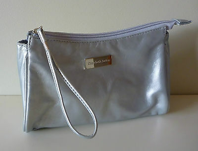 Elizabeth Arden Silver Faux Leather Makeup Cosmetics Bag, Brand NEW!!