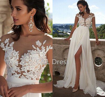 2017 White/Ivory Lace Wedding Dress Bridal Gown Custom Size 6+8+10+12+14+16+++++