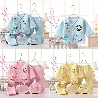 5Pcs Newborn Baby Cotton T-Shirt Pants Boy Girl Suits Infant Clothes Set Pajamas