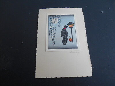 Rare Vintage Antique 1920s ? HIROSHIGE Japanese Wood Block Print Signed Card