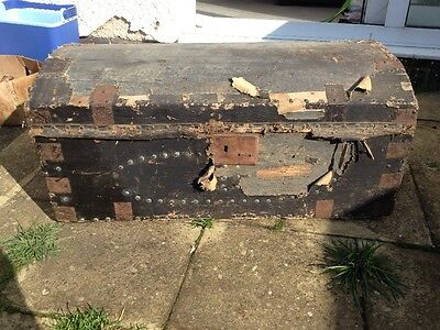 Antique Large wooden Domed Steamer Trunk Chest Victorian Edwardian Characterful