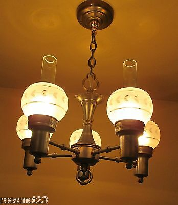 Vintage Lighting antique 1930s Colonial style chandelier
