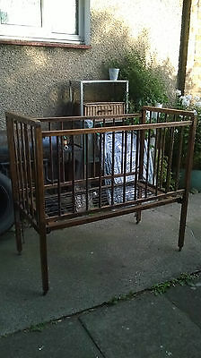 Antique Folding Travelling W&S 'Auto-Cot' Wooden Cot Bed / Crib