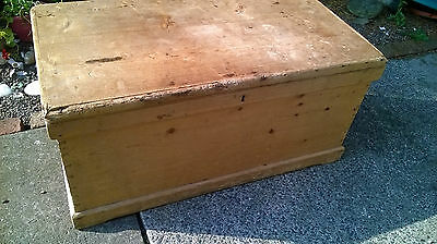 Antique Pine Flat Topped Trunk / Chest / Coffee Table