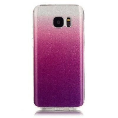iProtect TPU Samsung Galaxy S7 Softcase Hülle Glitzer Gradient Silber Lila