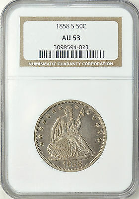 1858-S Liberty Seated Half Dollar NGC AU53 Much Better Date
