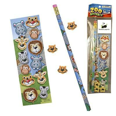 Bulk Lot of 20 Zoo Jungle Wild Animals Stationery Sets Kids Party Favors